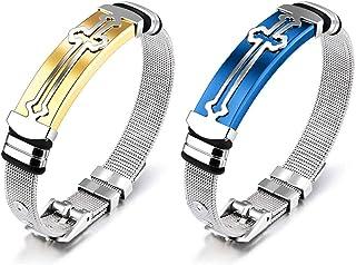 JewelBeauty 男士十字架手链可调节网眼链宗教腕带情人节纪念日礼物送给男士父亲丈夫(金色+蓝色)