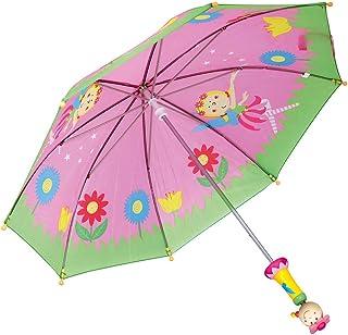 BINO Fee 仙女设计儿童雨伞 | 带木质手柄 | 适合 3 岁以上的儿童,70 x 70 x 65 厘米, 粉红色