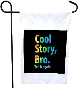 Rikki Knight 炫酷故事 Bro Tell It Again 彩虹印在黑色房子或花园旗帜上,带有 27.94 x 27.94 厘米图像,30.48 x 45.72 厘米