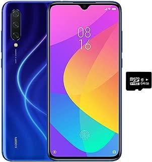小米 Mi 9 Lite (128GB, 6GB RAM) 6.39 英寸显示屏,双 SIM GSM 工厂无锁 - 美国和全球 4G LTE 国际版 128GB + 64GB SD + Case Bundle Aurora 蓝色