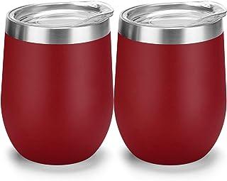 酒杯 - 带盖不锈钢玻璃杯 – 双层真空隔热杯 – 酒红色、咖啡、香槟、鸡尾酒保冷或温暖 – 12 盎司 红色
