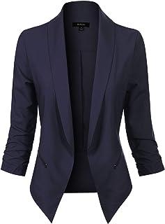 MixMatchy 女式纯色前开七分袖正式风格外套