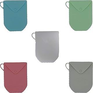 Lcoor 5 件套硅胶面具收纳盒,一次性面罩,便携式小物件收纳袋,可重复使用储物袋