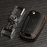 SNBLO 斯柯达2016款新明锐新速派汽车钥匙包钥匙套扣改装 汽车钥匙包 黑色棕线