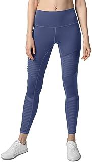 Hopgo 女式高腰摩托打底裤锻炼训练紧身裤弹力七分紧身瑜伽裤