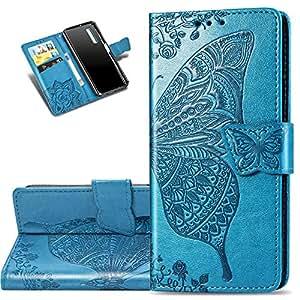 HMTECHUS Galaxy A750 手机壳优雅压花卡片现金插槽书式钱包 PU 皮革耐用磁扣翻盖支架防震兼容三星 Galaxy A7 2018 SD] Butterfly:Blue