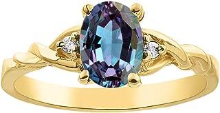 RYLOS 女式戒指 椭圆形宝石 & 真正闪亮钻石 14K 黄金镀银 .925-7X5MM 彩色宝石