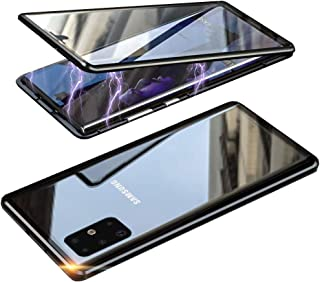 HONTECH 三星 Galaxy S20 Ultra 磁性手机壳,前后磁性吸附手机壳,透明钢化玻璃,内置屏幕保护膜,金属保险杠翻盖,6.9 英寸 2020 黑色