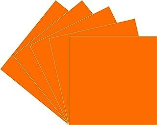 橙色 Oracal 651 乙烯基,5 片装 30.48 厘米 x 30.48 厘米光面橙色永久粘合剂乙烯基板,适用于室内/室外字母、标记、装饰、汽车贴花、窗户图形,适用于十字、轮廓。