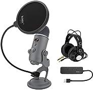Blue Yeti USB 麥克風(冷灰色)套裝,配有 Studio 耳機,Knox Gear Pop 過濾器和 USB 集線器