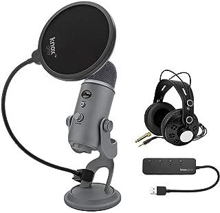 Blue Yeti USB 麦克风(冷灰色)套装,配有 Studio 耳机,Knox Gear Pop 过滤器和 USB 集线器