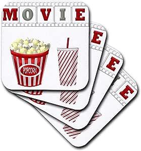 ANNE marie baugh–theater–THE Word 电影与爆和 SODA 红色的插图,白色,和灰色–杯垫