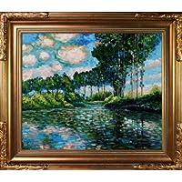 overstockArt 爱普特银行上的府绸油画,带佛罗伦斯金框 Monet 出品