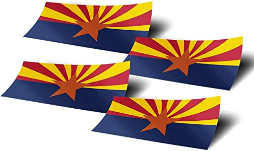 亚利桑那州 AZ 4 件装宽州旗贴纸贴花适用于窗户 笔记本电脑乙烯基 汽车保险杠剪贴簿