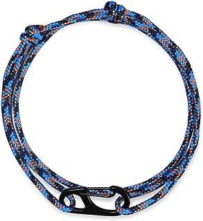 WUE 男士伞绳手链,手工制作,带 425 根绳索和钢钩可调节拉绳 - 露营装备和徒步装备,美国制造