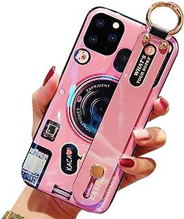 Aulzaju iPhone 11 闪亮腕带保护套,iPhone 11 闪亮时尚可折叠支架保护套柔软 TPU 全息混合保护套适用于 iPhone 11 iPhone SE 2020/iPhone 8/iPhone 7 粉红色