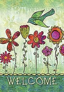 托兰家庭花园 Groovy Blooms 71.12cm x 101.6cm 装饰欢迎花卉彩色花卉鸟屋旗