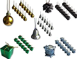 BANBERRY 设计迷你圣诞装饰品 - 小树装饰 - 银色,金色和绿色微型球,松木锥,铃铛,包装和鼓 - 3.81 cm 尺寸 绿色和金色 60 3587-1