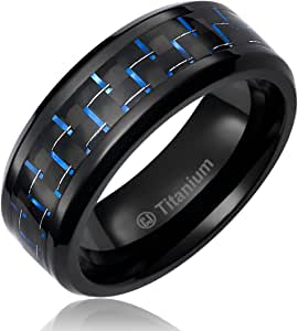 8MM Mens Titanium Ring Wedding Band Black Plated with Black and Blue Carbon Fiber Inlay