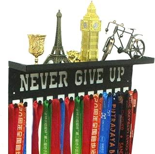 "URBN 金属壁挂式""Never Give Up""励志儿童与成人运动*章挂架和丝带展示架,带 7.62 cm *杯架和易于悬挂挂钩"