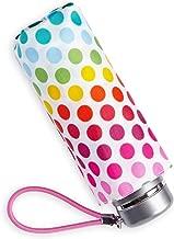 Totes 迷你手动紧凑雨伞,NeverWet 技术(白色带彩色波尔卡圆点)