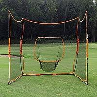 青少年超值 4 合 1 便携式棒球/垒球练习网带打击区、足球训练网、高尔夫练习网、带 2 边保护网、屏障后挡网、21 英尺 x 7 英尺(3 向 7 英尺 x 7 英尺)