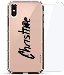 豪华设计师,3D 印花,时尚气袋垫,360 度玻璃保护套装手机壳 iPhoneLUX-IXAIR360-NMCHRISTINE1 NAME: CHRISTINE, HAND-WRITTEN STYLE 透明