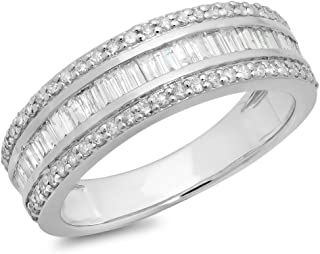 0.95 Carat (ctw) 10K Gold Round & Baguette Diamond Men's Anniversary Wedding Band Ring 1 CT (white-gold, 6)