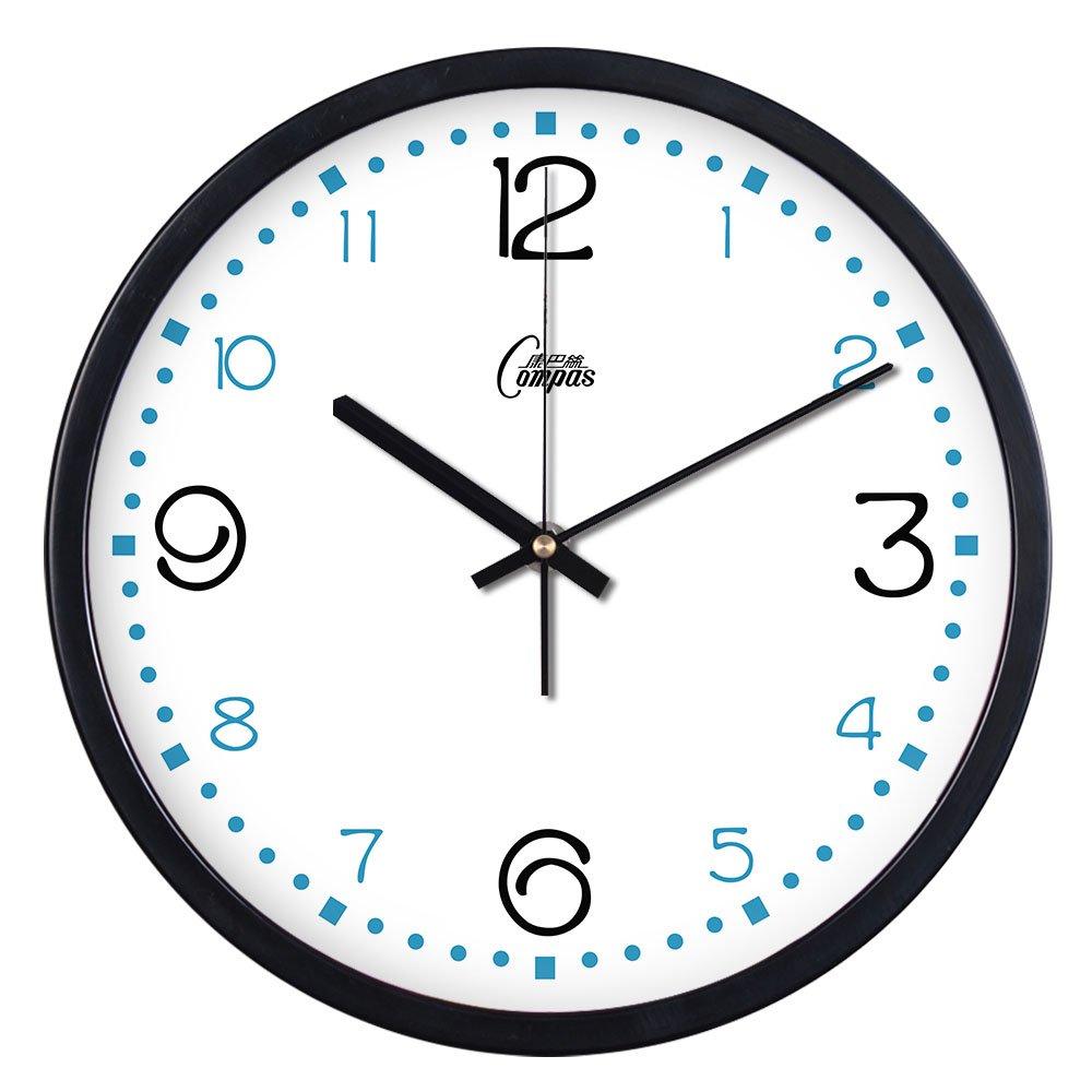 康巴丝挂钟客厅时尚创意金属静音钟表时钟挂表简约田园创意石英钟黑图片
