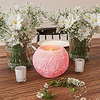 Lavish Home LED 蜡烛带遥控 - 玫瑰球设计香薰蜡逼真闪烁或稳定的无焰球状光环境家居装饰