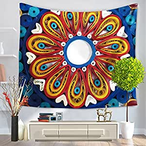 新品曼荼罗花图案挂毯,墙壁艺术,海滩抛物,139.4x149.86 厘米 7.62 cm