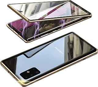 HONTECH Galaxy A51 5G 防间谍磁性手机壳,超薄隐私磁吸附前后钢化玻璃,内置屏幕保护膜,金属保险杠翻盖保护套 6.5 英寸 金色