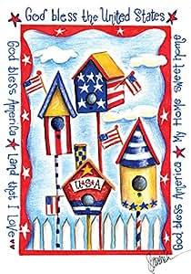 Toland Home Garden USA 鸟舍 71.12 x 101.6 cm 装饰爱国夏季 7 月 4 日上帝保佑美国国旗