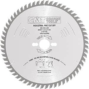 CMT 285.060.10M 工业重型精细切割 ATB 刀片和 250 毫米 9-27/32 英寸 x 60 齿 15 度 ATB 带 30 毫米孔
