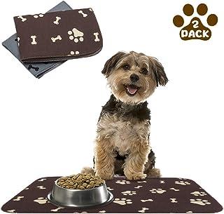SCENEREAL 防水防滑狗粮垫 – 2 件装宠物喂食垫 – 狗狗垫 – 碗 15.8 x 23.8 英寸(约 40.1 x 59.9 厘米)狗猫粮垫