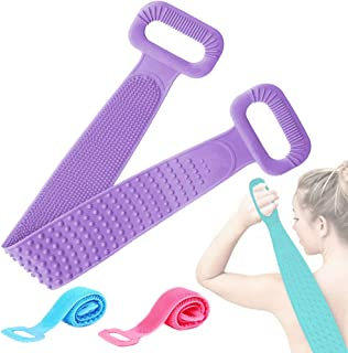 Oxmidud 去角质背部磨砂膏,硅胶浴室淋浴刷双面皮带,深层清洁和激活您的皮肤(紫色)