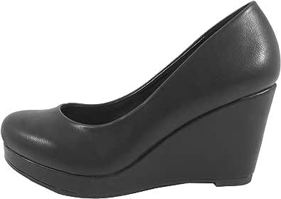 City Classified 女式一脚蹬圆头舒适加垫内底坡跟高跟鞋 黑色 Pu 10 M US