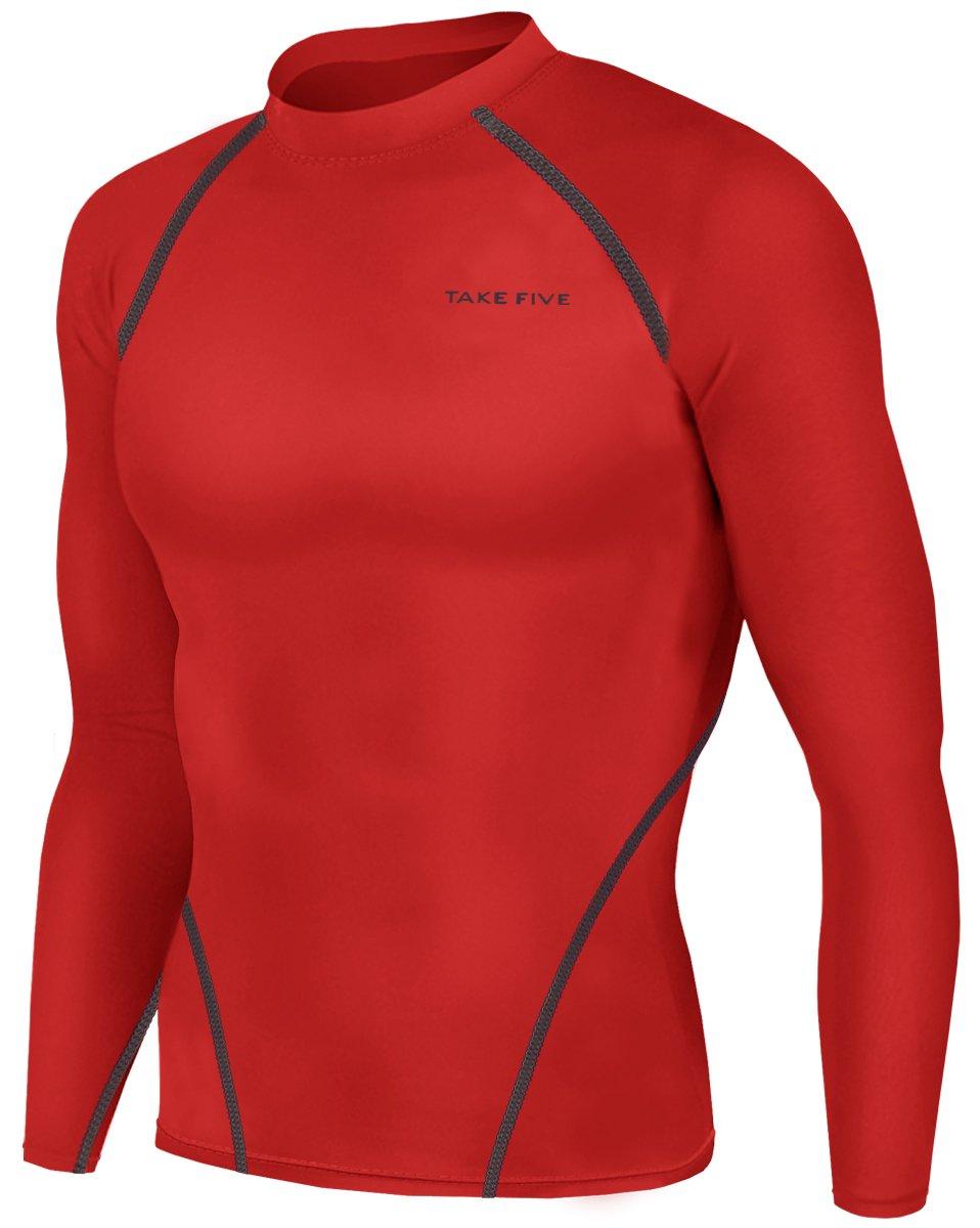 JustOneStyle 新款男式运动服装长袖衬衫紧身裤压缩底层上衣 黑色