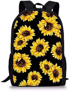ZERODATE 动物男孩学校背包男孩女孩书包书包单肩包青少年动物狗哈巴狗印花 Yellow Sunflowers