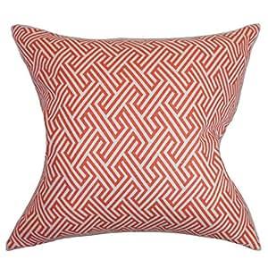 "The Pillow Collection Graz 几何护理 珊瑚色 ""Multi"" European/26"" x 26"" EURO-D-42271-CORAL-C100"