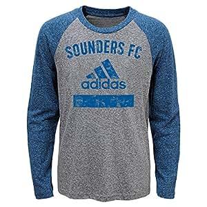 MLS Seattle Sounders FC 男孩 -三种混合设备长袖 T 恤,麻灰色,S 码 (4)