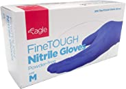 Eagle Protect FineTough 强韧轻质高级触觉精* FDA 符合食品处理无粉加速器自由纹理指尖靛蓝色一次性丁腈手套 Box of 200 Size M 蓝色