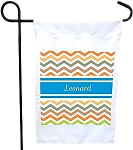"Rikki Knight""Leonard 蓝色 V 形花纹名字居家或花园旗帜,27.94 x 27.94 cm 图片,30.48 x 45.72 cm"