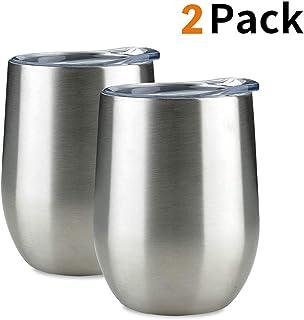 Jearey 无柄酒杯 12 盎司不锈钢双层真空隔热酒杯带盖旅行友好 亮灰色