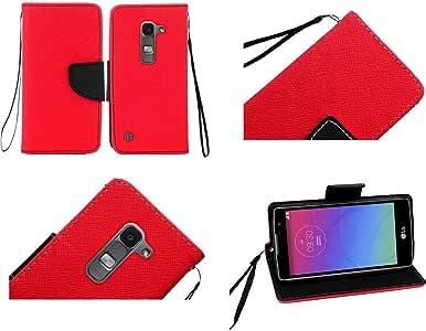 For LG Escape 2 Logos Spirit US550 C70 H443 H440F Premium PU Leather Flip Wallet Credit Card Cover Case 红色