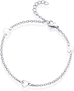555Jewelry 女士不锈钢多心形坠饰链爱心手链