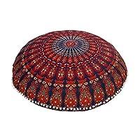 Anokhiart 蓝色 81.28 厘米 曼荼罗 巴米米尼 大地垫 冥想坐式软垫装饰 波西米亚风 波西米亚风 枕套 *蓝 32 inches ARTC0004