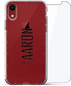 豪华设计师,3D 印花,时尚,气袋垫,360 玻璃保护膜套装手机壳 iPhone XR - 透明阿尔巴尼亚国旗LUX-I9AIR360-NMAARON2 NAME: AARON, MODERN FONT STYLE 透明