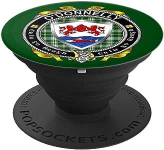 O'Donnelly/Donnelly Shield w//St Patrick Tartan PopSockets 手机和平板电脑握架260027  黑色