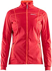 Craft Sportswear 女式 Force 北欧越野滑雪 反光全拉链 3 层软壳夹克:滑雪/寒冷天气/休闲/外衣
